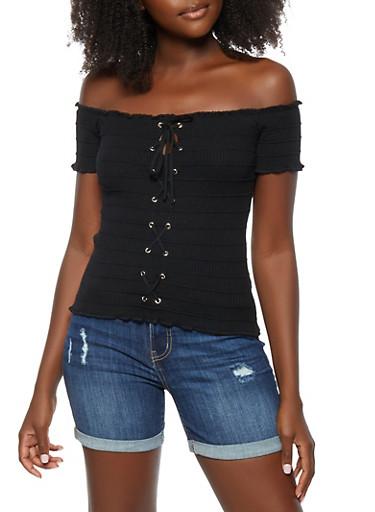 Lace Up Off the Shoulder Top,BLACK,large