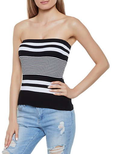 Rib Knit Striped Tube Top,BLACK/WHITE,large
