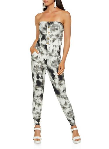 Printed Strapless Jumpsuit,BLACK,large
