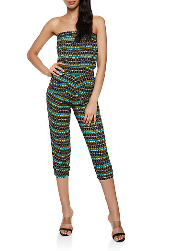 Printed Tube Jumpsuit | 0045038340320,GREEN,large