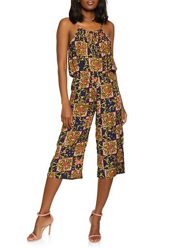 Printed Keyhole Wide Leg Jumpsuit,NAVY,large