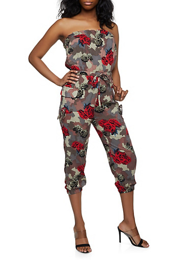 Printed Strapless Tube Jumpsuit,BLACK,large