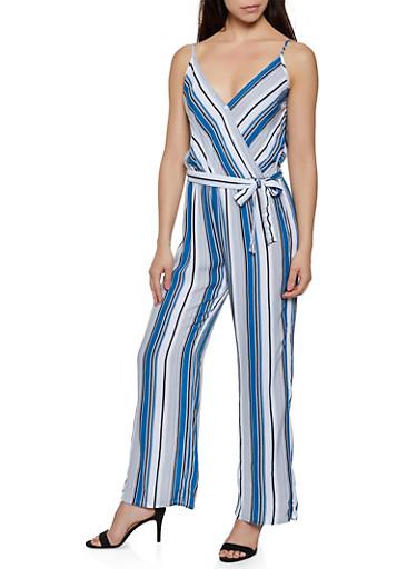 Vertical Stripe Faux Wrap Wide Leg Jumpsuit,RYL BLUE,large