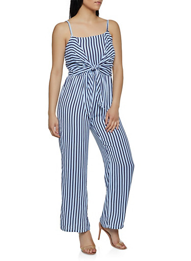 Sleeveless Tie Front Striped Jumpsuit,NAVY,large