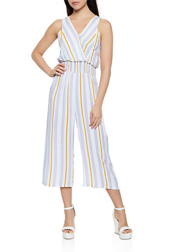 Faux Wrap Striped Palazzo Jumpsuit,MUSTARD,large
