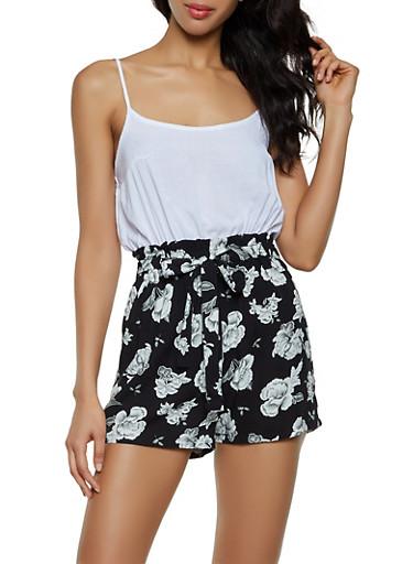 Floral Paper Bag Waist Cami Romper,BLACK/WHITE,large