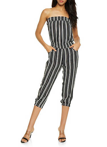 Cinched Waist Striped Tube Jumpsuit,BLACK/WHITE,large