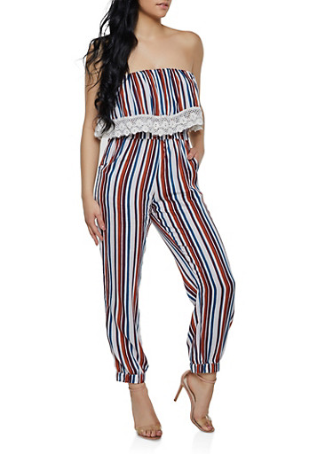 Striped Overlay Tube Jumpsuit | 0045038341321,BROWN,large
