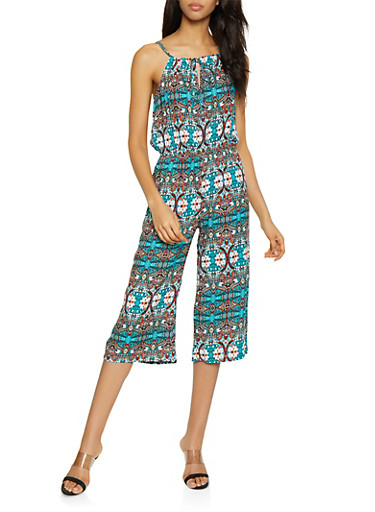 Sleeveless Printed Capri Jumpsuit,TEAL,large