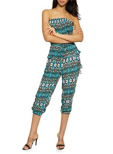 Printed Tube Jumpsuit,TEAL,large