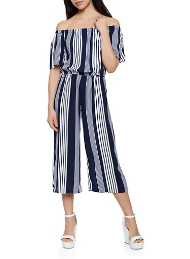 Off the Shoulder Striped Palazzo Jumpsuit,NAVY,large
