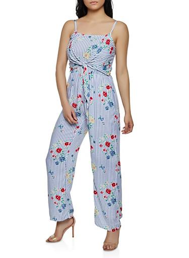 Tie Front Floral Striped Jumpsuit,MULTI COLOR,large