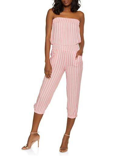 Striped Strapless Jumpsuit,MAUVE,large