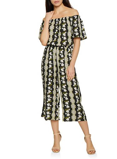 Off the Shoulder Cropped Floral Jumpsuit,BLACK,large