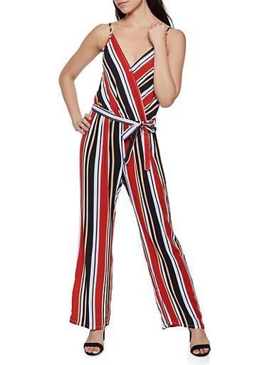 Striped Tie Waist Faux Wrap Jumpsuit,BLACK,large