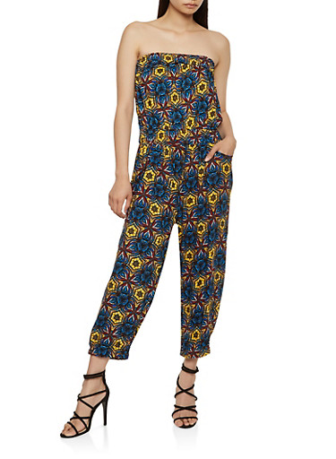 Printed Strapless Jumpsuit,MUSTARD,large