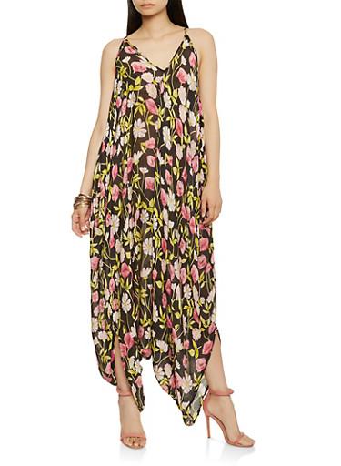 Floral Harem Jumpsuit,BLACK,large