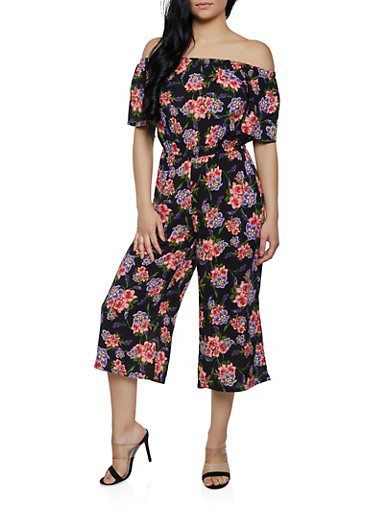 Off the Shoulder Floral Jumpsuit,BLACK,large