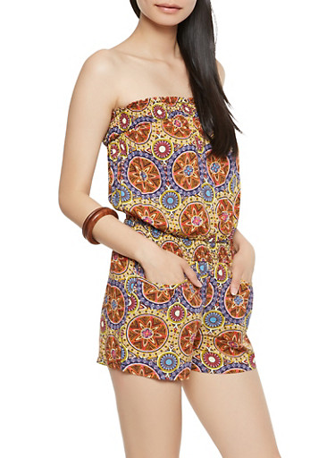 Printed Strapless Romper,RUST,large