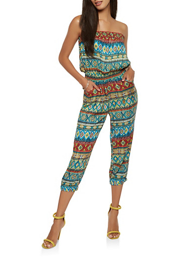 Printed Cropped Jumpsuit,GREEN,large