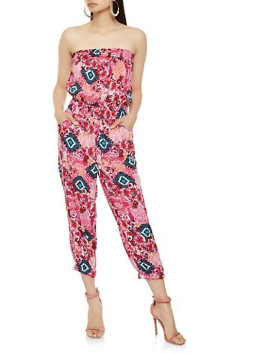 Printed Strapless Jumpsuit,FUCHSIA,large
