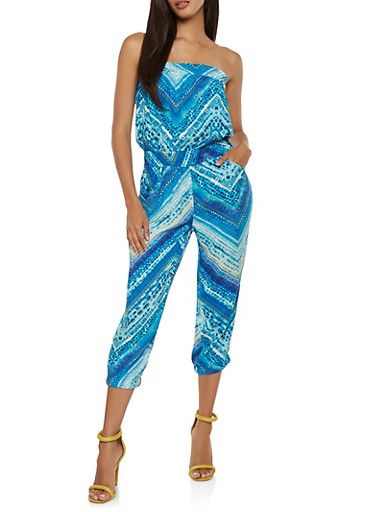 Printed Cropped Jumpsuit,BLUE,large
