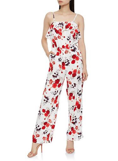 Floral Ruffle Wide Leg Jumpsuit,MULTI COLOR,large