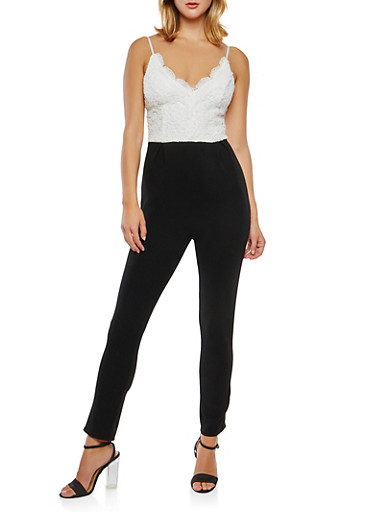 Crochet Textured Knit Jumpsuit,WHT-BLK,large