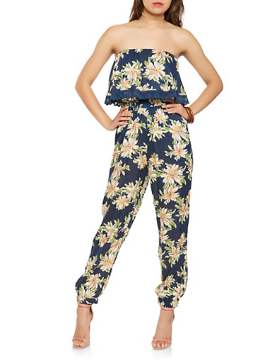 Floral Crochet Trim Jumpsuit,NAVY,large