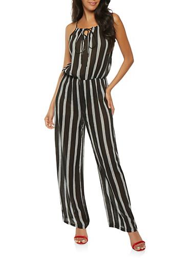 Striped Crinkle Knit Jumpsuit,BLACK,large