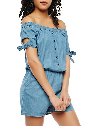 Tie Sleeve Chambray Romper,MEDIUM WASH,large