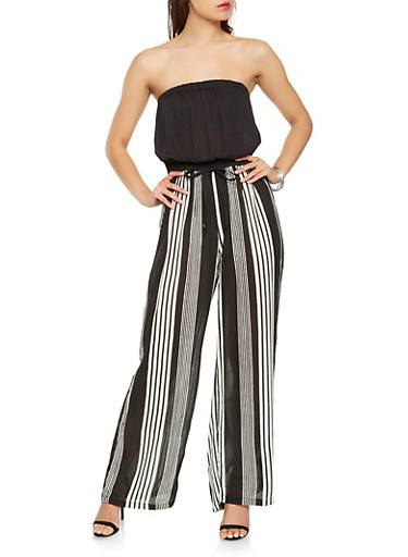 Striped Tie Waist Tube Jumpsuit,BLACK,large