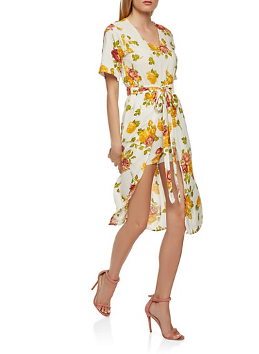 Printed Romper with Midi Skirt Overlay,IVORY,large