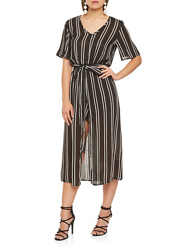 Tie Waist Striped Romper,BLACK/WHITE,large