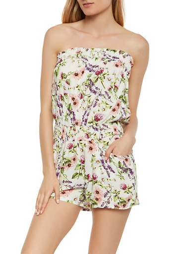 Strapless Printed Romper,IVORY,large