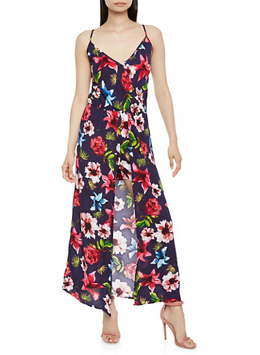 Floral Faux Wrap Maxi Romper,MULTI COLOR,large