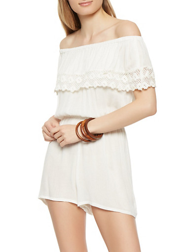 Off the Shoulder Crochet Trim Romper,IVORY,large