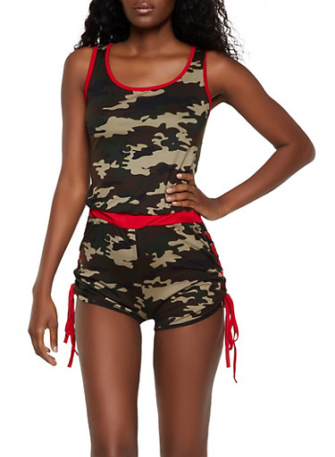 Lace Up Camo Romper,OLIVE,large