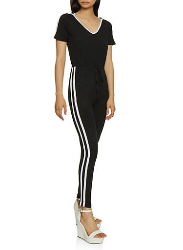 Hooded Varsity Stripe Detail Jumpsuit,BLACK/WHITE,large