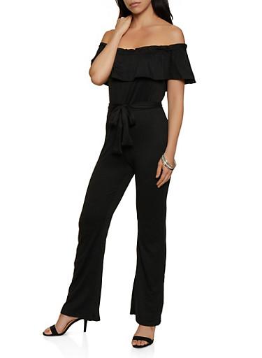 Off the Shoulder Ruffle Tie Waist Jumpsuit,BLACK,large