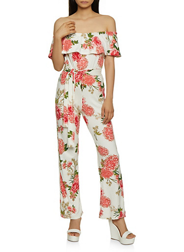 Printed Off the Shoulder Flared Jumpsuit,WHITE,large
