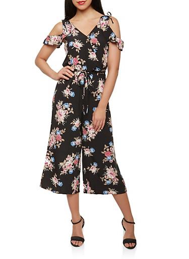 Floral Faux Wrap Cold Shoulder Jumpsuit,BLACK,large