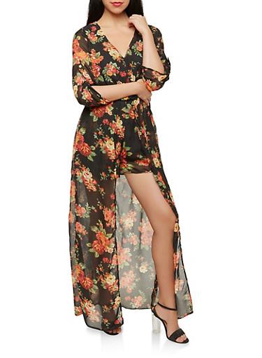 Floral Maxi Romper,BLACK,large