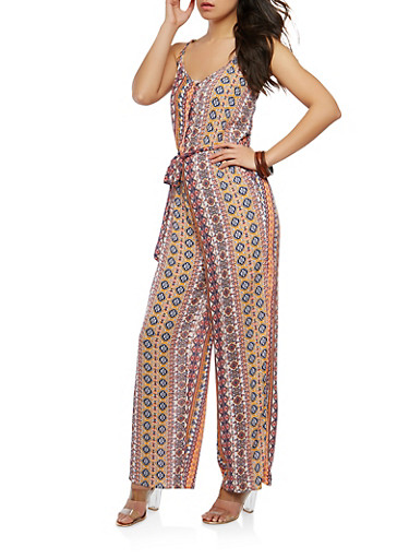 Border Print Button Front Belted Jumpsuit,IVORY,large