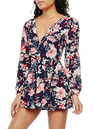 Floral Crepe Knit Slit Sleeve Romper,NAVY,large