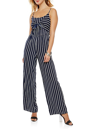 Striped Tie Front Jumpsuit,WHITE/BLUE,large