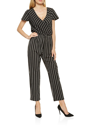 Striped Faux Wrap Jumpsuit,BLACK/WHITE,large
