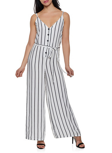 Striped Button Front Cami Jumpsuit,IVORY,large