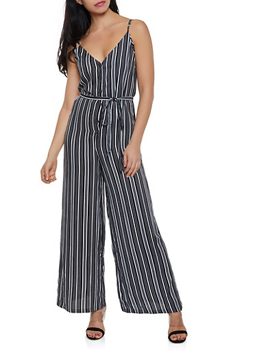 Striped Button Front Cami Jumpsuit,BLACK/WHITE,large