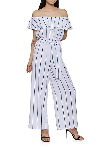 Overlay Off the Shoulder Jumpsuit,WHITE,large